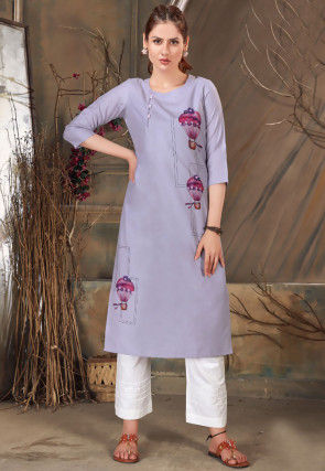 Digital Printed Cotton Straight Kurta in Light Purple