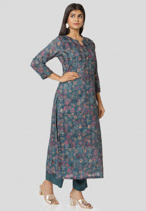 Digital Printed Cotton Straight Kurta Set in Teal Blue