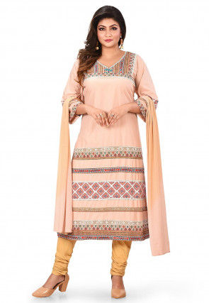 Digital Printed Cotton Straight Suit in Light Peach