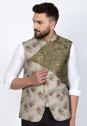 Digital Printed Cotton Viscose Overlapping Nehru Jacket in Light Beige and Olive Green