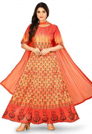 Digital Printed Crepe Abaya Style Suit in Orange