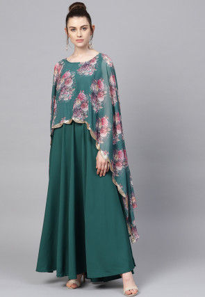 Digital Printed Crepe Cape Style Gown in Teal Green