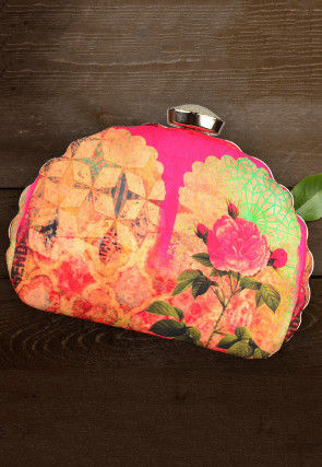 Digital Printed Crepe Dome Shaped Box Clutch in Beige and Pink