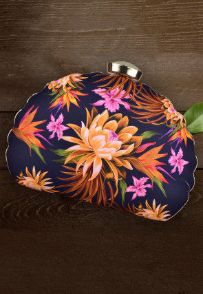 Digital Printed Crepe Dome Shaped Box Clutch in Navy Blue
