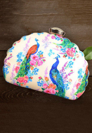 Digital Printed Crepe Dome Shaped Box Clutch in Off White