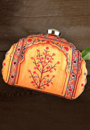 Digital Printed Crepe Dome Shaped Box Clutch in Yellow