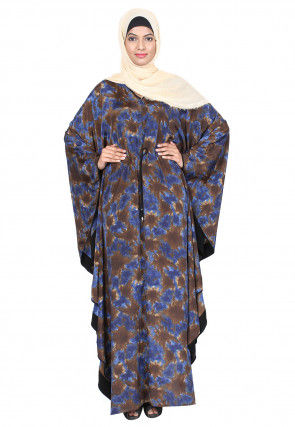Digital Printed Crepe Front Drawstring Kaftan in Brown and Blue