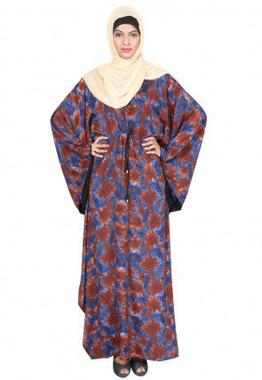 Digital Printed Crepe Front Drawstring Kaftan in Rust and Blue
