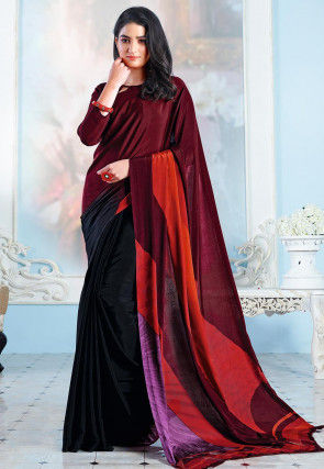 Digital Printed Crepe Half N Half Saree in Maroon and Black