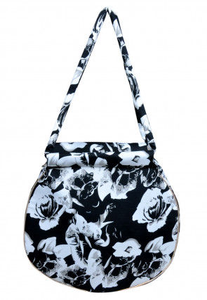 Digital Printed Crepe Hand Bag in Black and White