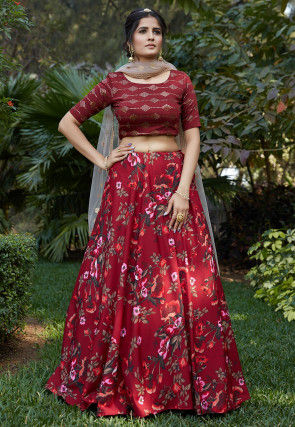 Digital Printed Crepe Lehenga in Maroon