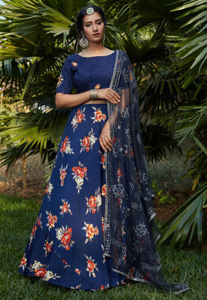 Digital Printed Crepe Lehenga in Navy Blue