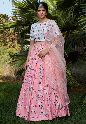 Digital Printed Crepe Lehenga in Peach