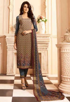 Digital Printed Crepe Pakistani Suit in Beige