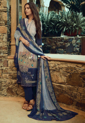 Digital Printed Crepe Pakistani Suit in Blue and Cream