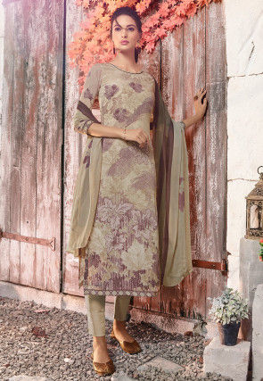 Digital Printed Crepe Pakistani Suit in Dusty Beige