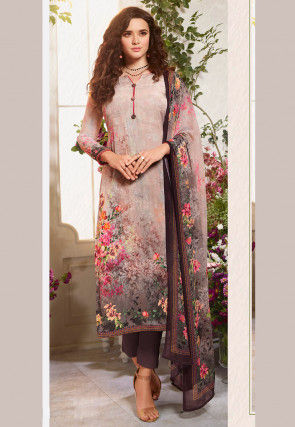 Digital Printed Crepe Pakistani Suit in Dusty Peach