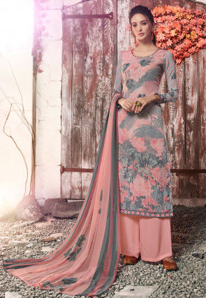 Digital Printed Crepe Pakistani Suit in Dusty Pink and Grey