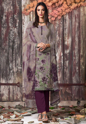 Digital Printed Crepe Pakistani Suit in Fawn