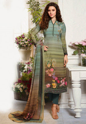 Digital Printed Crepe Pakistani Suit in Green and Multicolor