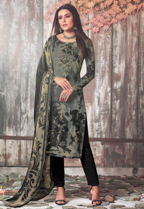 Digital Printed Crepe Pakistani Suit in Grey