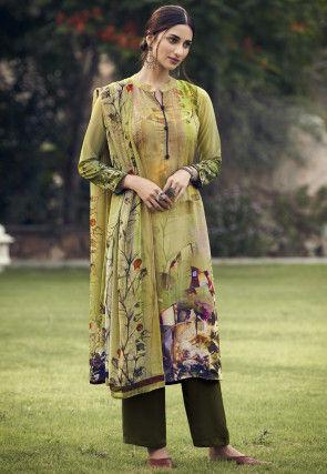Digital Printed Crepe Pakistani Suit in Light Green