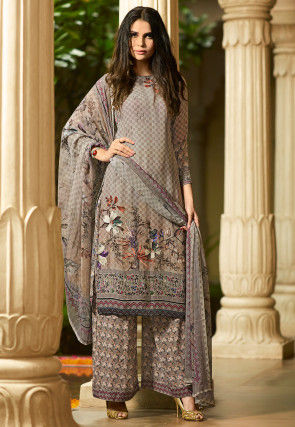 Digital Printed Crepe Pakistani Suit in Light Grey
