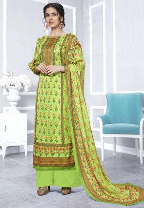 Digital Printed Crepe Pakistani Suit in Light Olive Green