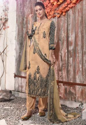 Digital Printed Crepe Pakistani Suit in Peach and Grey