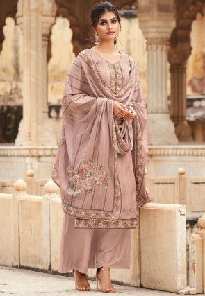 Digital Printed Crepe Pakistani Suit in Peach