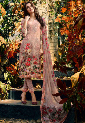 Digital Printed Crepe Pakistani Suit in Rose Gold