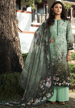 Digital Printed Crepe Pakistani Suit in Sea Green and Grey