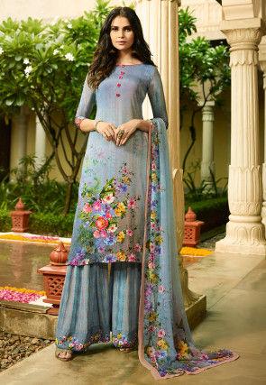 Digital Printed Crepe Pakistani Suit in Sky Blue