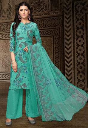 Digital Printed Crepe Pakistani Suit in Turquoise