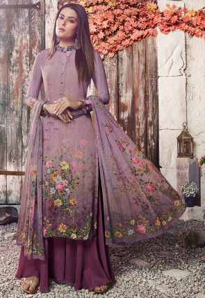 Digital Printed Crepe Pakistani Suit Suit in Dusty Purple