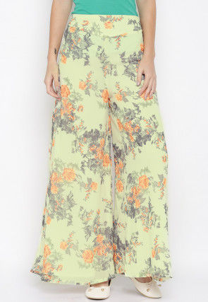 Digital Printed Crepe Palazzo in Light Yellow