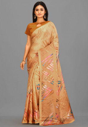 Digital Printed Crepe Pre-stitched Stitched Saree in Brown