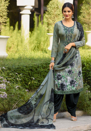 Digital Printed Crepe Punjabi Suit in Dusty Green