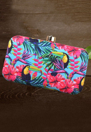 Digital Printed Crepe Rectangle Box Clutch in Multicolor
