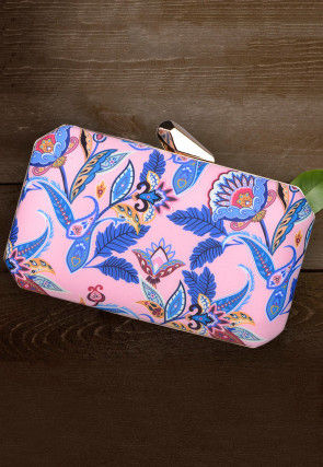 Digital Printed Crepe Rectangle Box Clutch in Pink and Blue