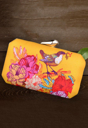 Digital Printed Crepe Rectangle Box Clutch in Yellow