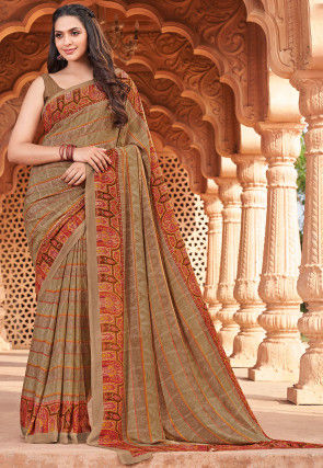 Digital Printed Crepe Saree in Beige