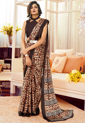 Digital Printed Crepe Saree in Cream and Brown