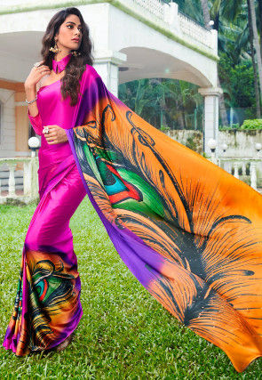 Digital Printed Crepe Saree in Fuchsia and Multicolor