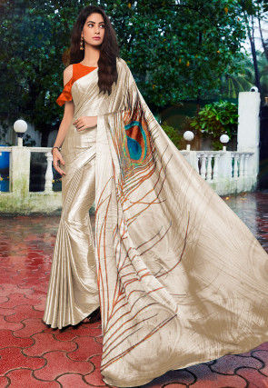 Digital Printed Crepe Saree in Light Beige