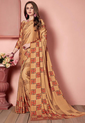 Digital Printed Crepe Saree in Light Brown and Multicolor