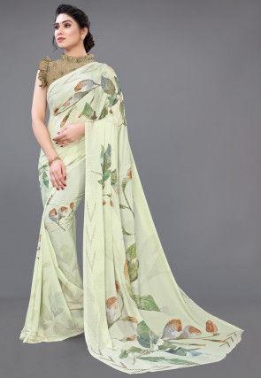 Digital Printed Crepe Saree in Light Green