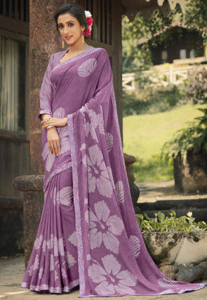 Digital Printed Crepe Saree in Light Purple