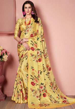 Digital Printed Crepe Saree in Light Yellow