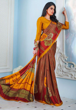 Digital Printed Crepe Saree in Maroon and Beige